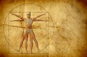 Concept or conceptual vitruvian human body drawing on old paper or book background as metaphor to an