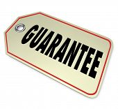 The word Guarantee on a price tag giving you confidence that your product has a warranty to ensure i