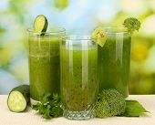 image of light weight  - Three kinds of green juice on bright background - JPG