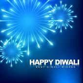 stock photo of diwali lamp  - vector happy diwali fireworks background - JPG