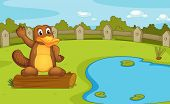 stock photo of platypus  - Illustration of a platypus on a log - JPG