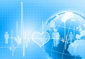 picture of blue-screen-of-death  - Image of heart beat against colour background - JPG