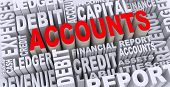 stock photo of financial audit  - 3d render of word tags wordcloud of concept of accounts - JPG