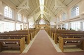 foto of church interior  - Interior view of a modern church with empty pews - JPG