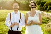foto of couples  - Happy couple on wedding day - JPG
