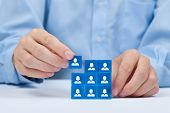 stock photo of recruiting  - Human resources social networking assessment center concept personal audit or CRM concept  - JPG