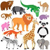 image of jungle animal  - Set of Animals on white background - JPG