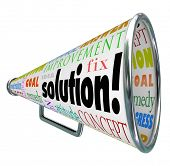 The word Solution on a product box to megaphone or bullhorn to spread an idea or innovation to solve