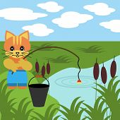 Постер, плакат: хорошая рыбалка кот