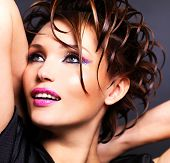 stock photo of saxy  - Beautiful saxy woman with bright pink makeup and stylish fashion hairstyle  - JPG