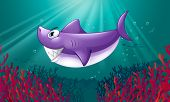 Illustration of a smiling violet shark under the sea