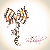 picture of eid mubarak  - Beautiful illustration for Muslim community festival Eid Mubarak with hanging moon and stars - JPG