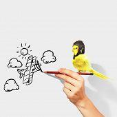 Постер, плакат: Изображение смешные попугай в смешной шляпе