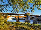 image of carthusian  - Ponte Coperto bridge in Pavia Lombardy Italy - JPG