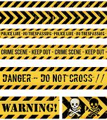 stock photo of dangerous  - Illustration of a set of seamless grunge police lines danger sign crime and warning tapes - JPG