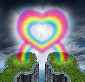 pic of long distance relationship  - Couple in love with two islands shaped as human heads coming together connected with a rainbow shaped as a love heart as a romantic symbol of a happy relationship and communication connection between two lovers - JPG
