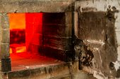 image of pottery  - Ceramic Pottery Kiln Firing with cermaics inside - JPG