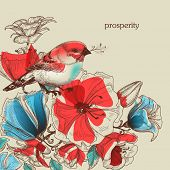 Flowers and bird vector illustration, greeting card, prosperity symbol