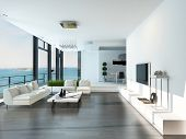 stock photo of couch  - Luxury living room interior with white couch and seascape view - JPG