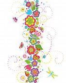 stock photo of dragonflies  - Seamless border with funny colorful flowers - JPG