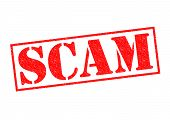 picture of hustle  - SCAM red Rubber Stamp over a white background - JPG