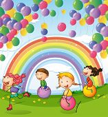 image of playmates  - Illustration of the kids playing with floating balloons and rainbow in the sky - JPG