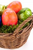 Basket Of Brightly Coloured Easter Eggs