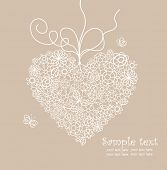 Pastel greeting card with lacy heart shape