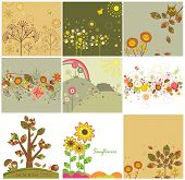 image of garden snail  - Set of autumnal abstract cards - JPG