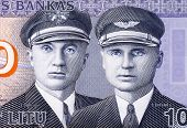 LITHUANIA - CIRCA 2007: Aviators Steponas Darius (1896-1933) and Stasys Girenas (1893-1933) on 10 Li
