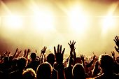 stock photo of excitement  - silhouettes of concert crowd in front of bright stage lights - JPG