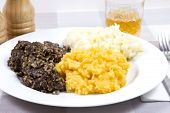 foto of haggis  - A traditional Scottish Haggis with potatoes and swede - JPG