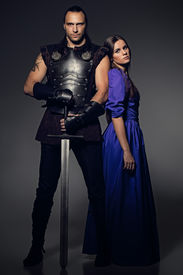 image of longsword  - Beautiful couple with historical costumes - JPG