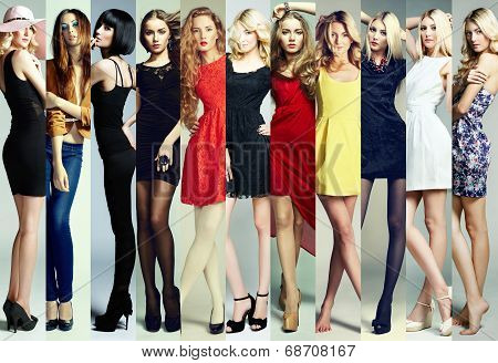 Fashion Collage. Group Of Beautiful Young Women poster