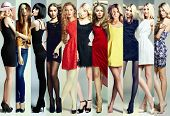 Fashion Collage. Group Of Beautiful Young Women mouse pad