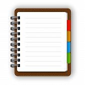 picture of homework  - Realistic spiral leather notebook with bookmarks and detailed pencil vector - JPG