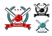 pic of ball cap  - Baseball symbols with laurel wreath - JPG
