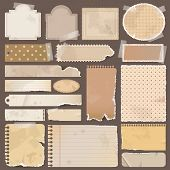 foto of old post office  - Various brown old remnant pieces of paper scrapbook and note board create by vector - JPG