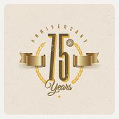 image of eyeleteer  - Vintage Anniversary type emblem with golden ribbon and decorative elements  - JPG