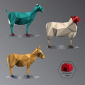 picture of wild donkey  - Colour full illustration of geometric farm animals made of triangle polygons easy changing colour set of medium animals like goat donkey and sheep - JPG