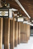 picture of kanto  - Lanterns Hanging From Eaves at Meiji Shrine - JPG