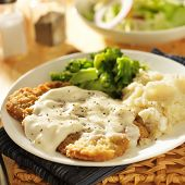 foto of southern fried chicken  - country fried steak with southern style peppered milk gravy - JPG