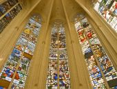 Leaded Panes In Medieval Catholic Cathedral poster
