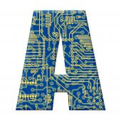 Letter From Electronic Circuit Board Alphabet On White Background - A