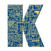 Letter From Electronic Circuit Board Alphabet On White Background - K