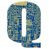 Letter From Electronic Circuit Board Alphabet On White Background - Q