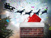 foto of santa sleigh  - Santa flying his sleigh behind chimney against full moon over forest - JPG