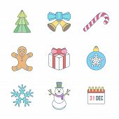 stock photo of christmas bells  - vector various christmas new year outline color icons set with christmas tree jingle bells lollipop gingerbread man gift box christmas tree toy snowflake snowman calendar holiday - JPG