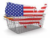 stock photo of usa map  - Shopping Basket and USA map - JPG
