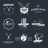 picture of barber  - Vector set of retro barber shop labels - JPG
